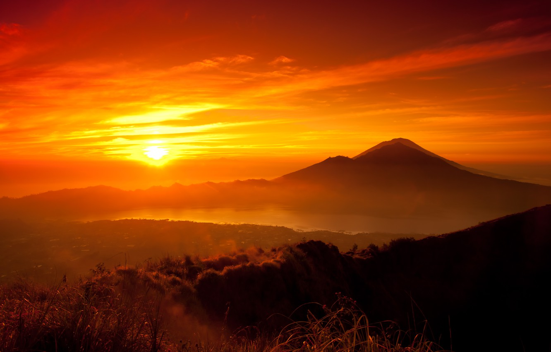 Photo wallpaper forest, the sun, sunset, mountains, orange, lake, yellow