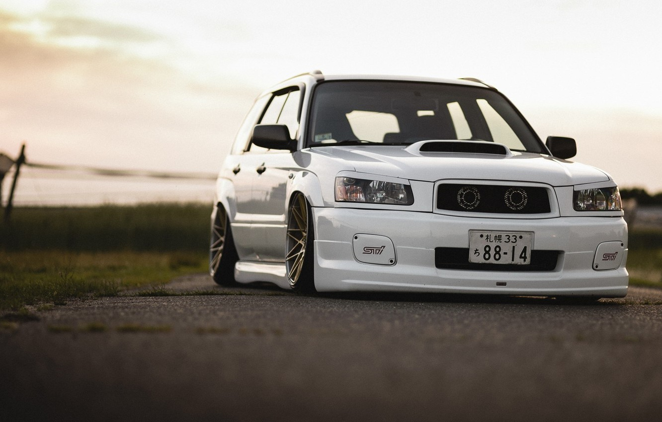 Photo wallpaper turbo, white, subaru, japan, jdm, tuning, front, sti, face, low, stance, forester