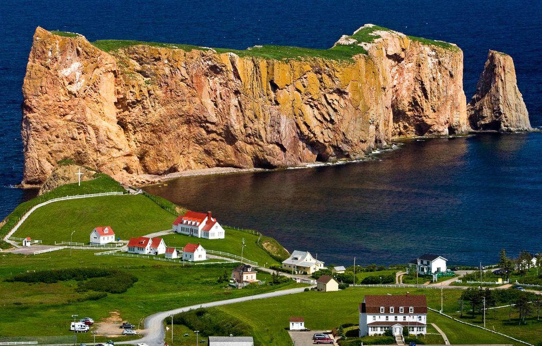 Photo wallpaper sea, trees, rock, shore, home