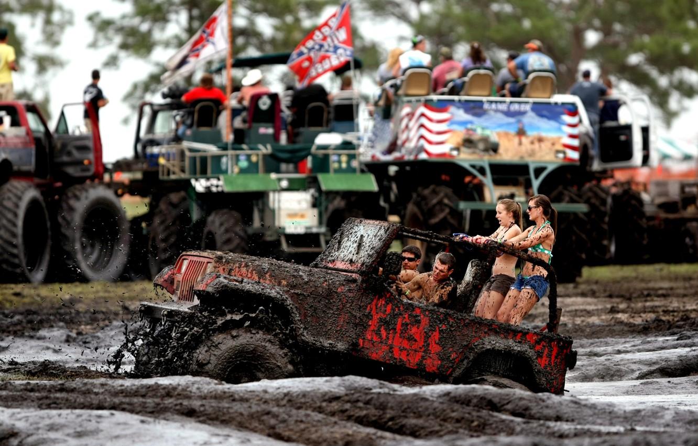 Photo wallpaper girls, dirt, SUV, Jeep, guys, Wrangler, Ringler, Jeep, its atmosphere