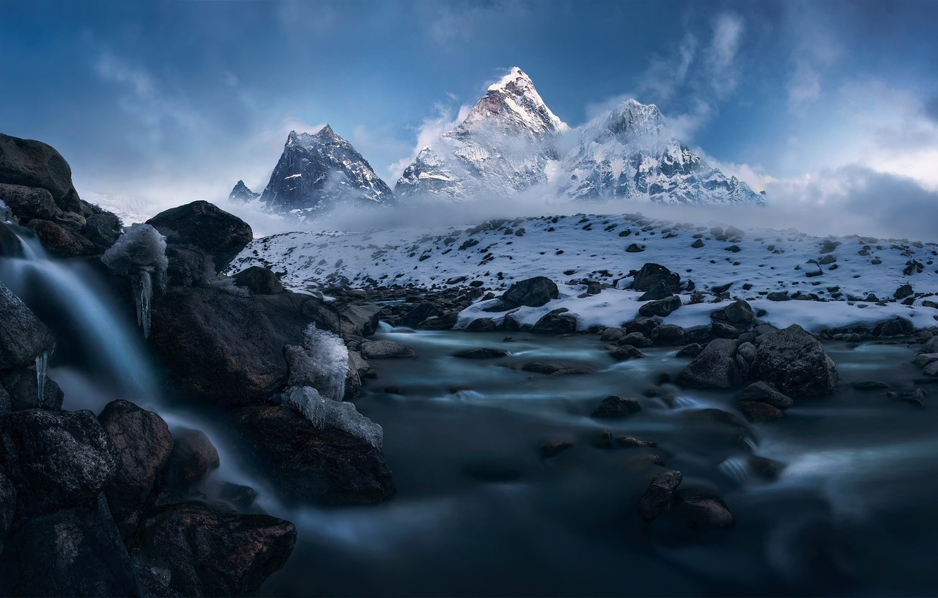 Wallpaper Snow Mountains The Himalayas Winter Storm