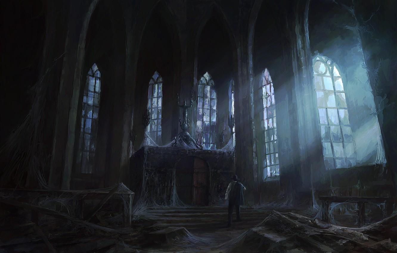 Photo wallpaper light, castle, people, Windows, web, art, temple, abandonment, gloomy, peteamachree