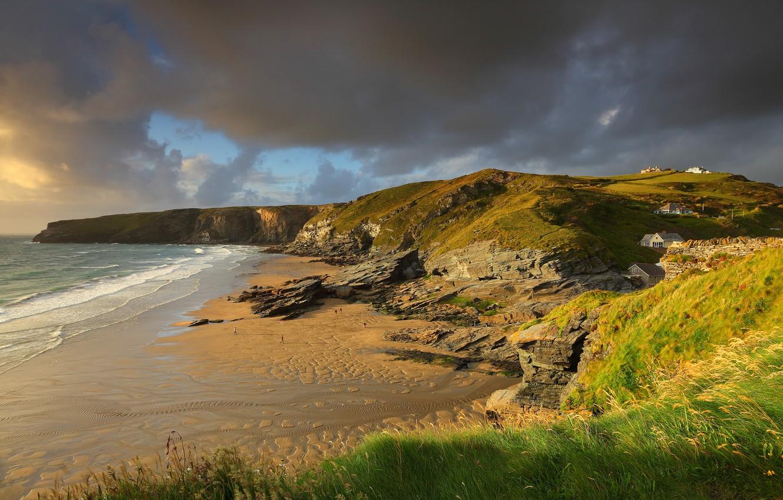 Photo wallpaper sea, beach, summer, people, the ocean, rocks, shore, England, Britain