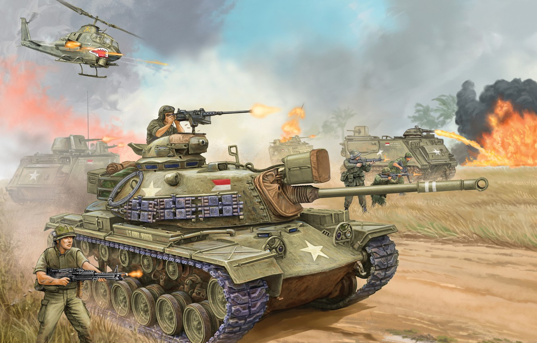 Photo wallpaper war, gun, art, tank, USA, the battle, the, mark, average, caliber, Flames of War, miniatures, …
