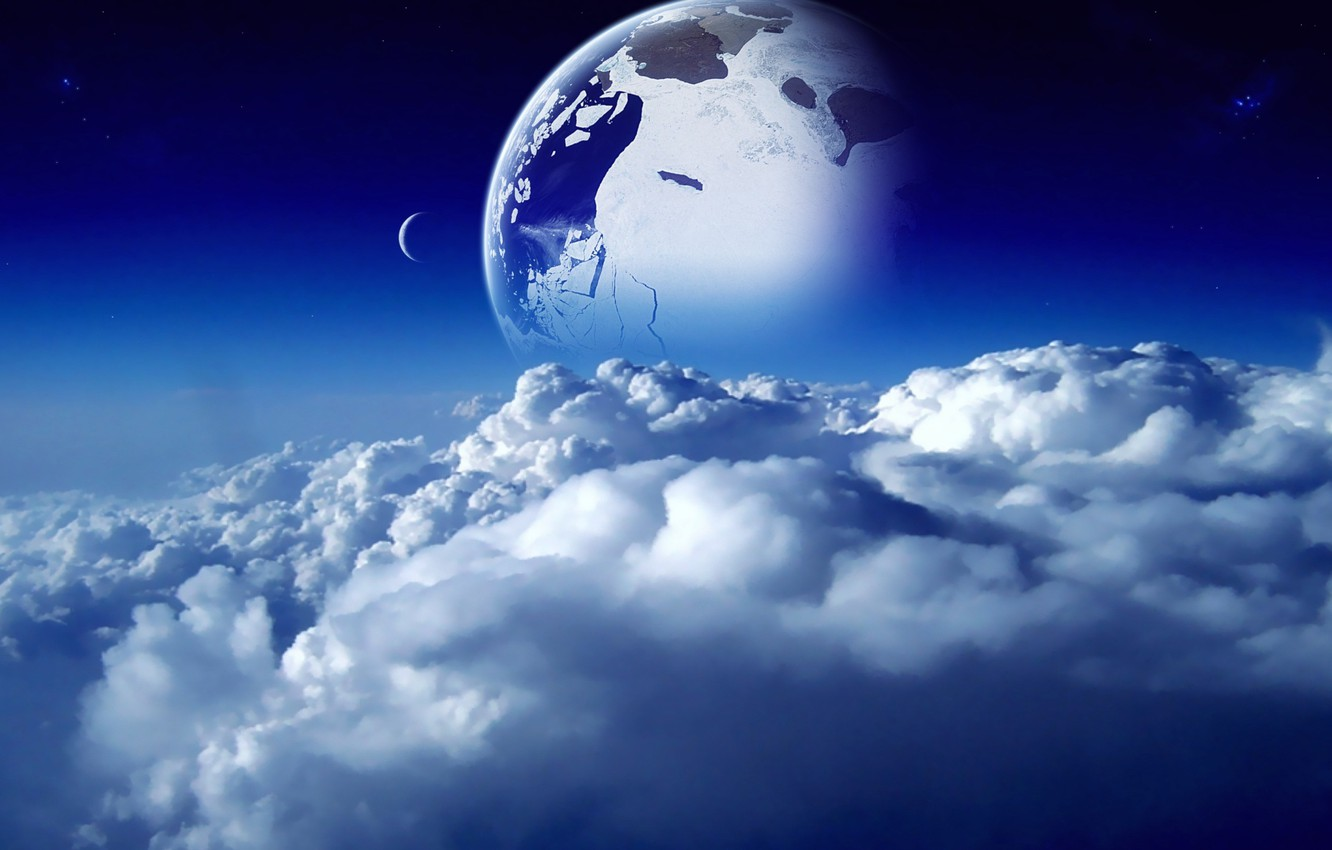 Photo wallpaper the sky, space, clouds, blue, blue, the moon, planet, space, moon, sky, blue, clouds, planet