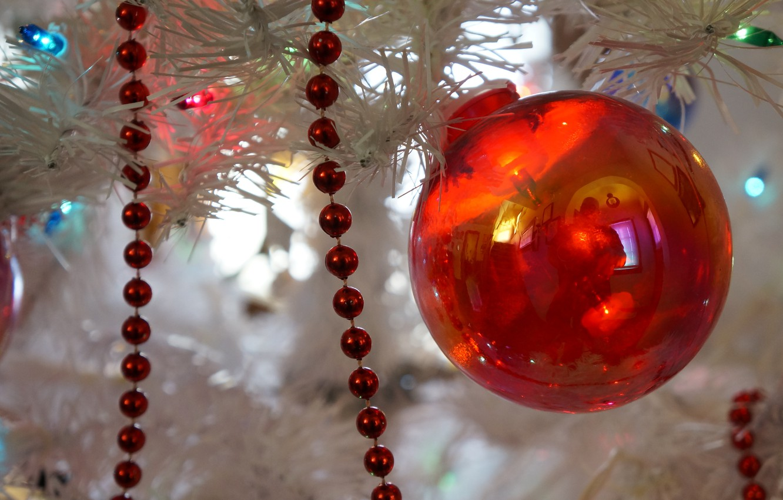 Photo wallpaper new year, ball, Christmas, decoration