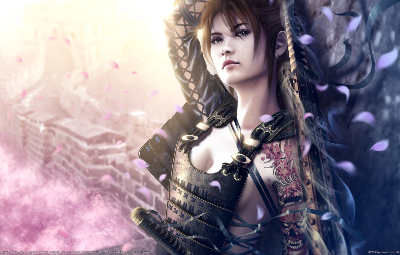 Photo wallpaper girl, light, weapons, wall, home, sword, katana, petals, Sakura, tattoo, art, tape, Asian, armor, mario …