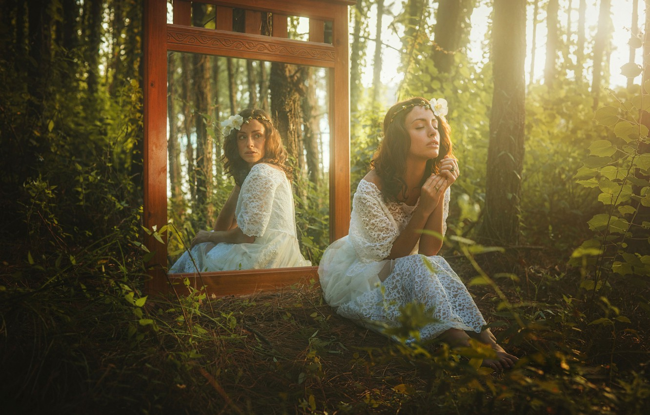 Photo wallpaper forest, look, girl, reflection, mirror