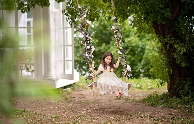 Photo wallpaper summer, childhood, swing, tree, dress, girl, daydreaming, cottage