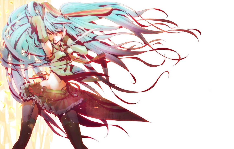 Photo wallpaper girl, hair, art, tie, form, vocaloid, hatsune miku, Vocaloid