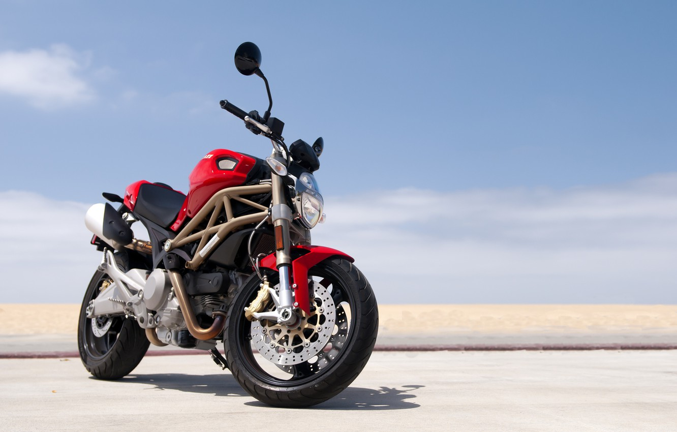 Photo wallpaper red, Ducati, Monster, beach, road, sky, 696