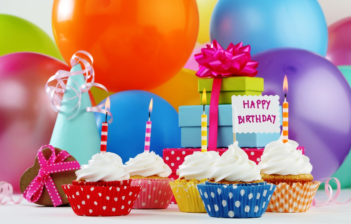 Photo wallpaper balls, candles, gifts, Happy Birthday, cupcake, cupcakes, Birthday