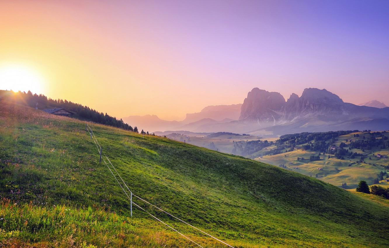 Photo wallpaper field, summer, landscape, sunset, the fence