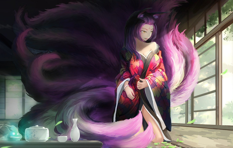Photo wallpaper girl, house, room, anime, art, dishes, kimono, ears, tails, kikivi, joymax