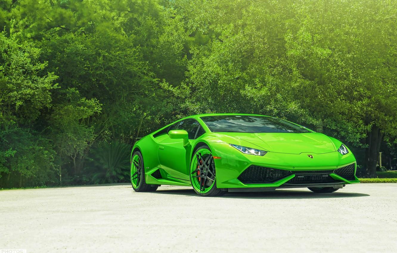 Photo wallpaper Lamborghini, Green, Front, Color, Supercar, Wheels, ADV.1, Huracan, LP610-4