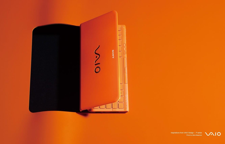 Photo wallpaper orange background, sony, orange laptop