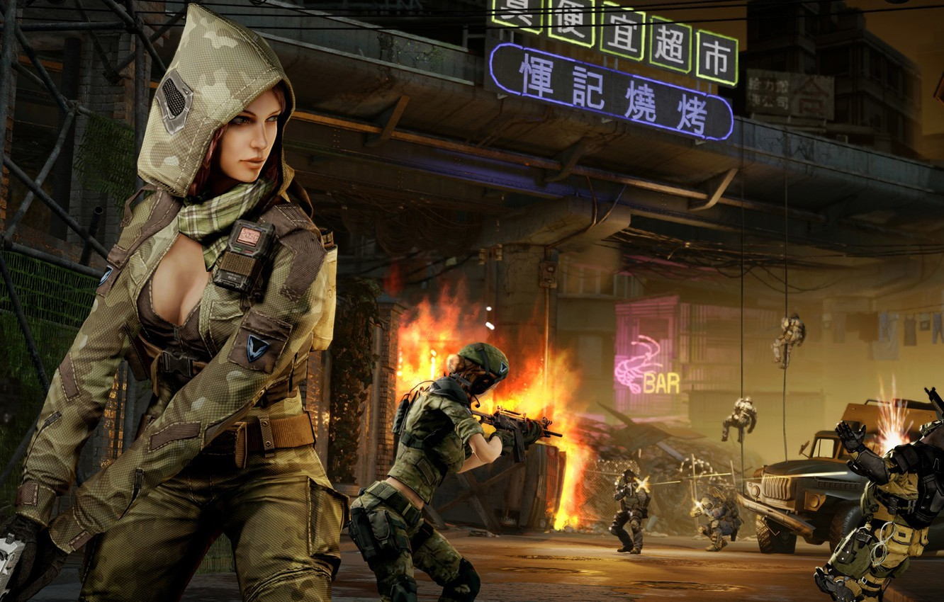 Photo wallpaper women, weapons, fire, home, soldiers, Aurora, team, sniper, attack, shootout, fighters, squad, Warface, Blackwood, MMOFPS, …