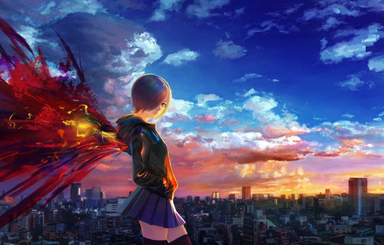 Photo wallpaper the sky, girl, clouds, sunset, the city, home, wings, anime, art, shitub52, Tokyo ghoul, kirishima …