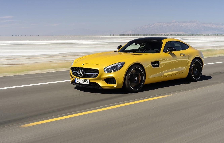 Photo wallpaper machine, auto, yellow, desert, coupe, Mercedes-Benz, highway, Mercedes, sports car, Mercedes, AMG, 2014, Mercedes-AMG GT