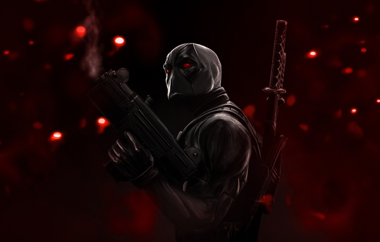 Photo wallpaper glare, weapons, katana, mask, red eyes, red background, Deadpool