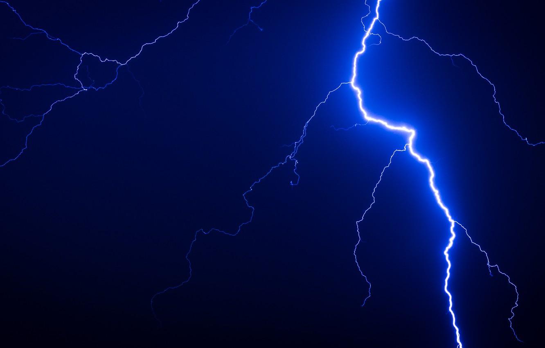Photo wallpaper the storm, the sky, element, lightning