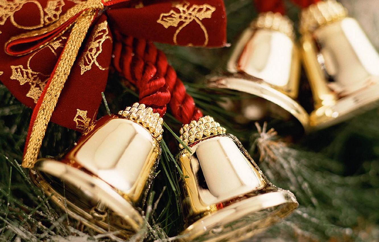 Photo wallpaper holiday, new year, Christmas, tree, christmas, new year, bow, bells