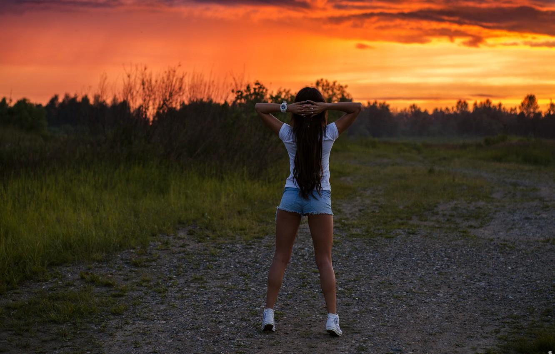 Photo wallpaper the sky, Sunset, Girl, Ass, figure, Clouds, Landscape, Beautiful, Sexy, amazing, Beautiful