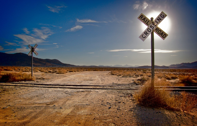 Photo wallpaper road, grass, the sun, clouds, mountains, desert, landscapes, road, rails, cloud, railroad, crossroads, sleepers, railroad, …