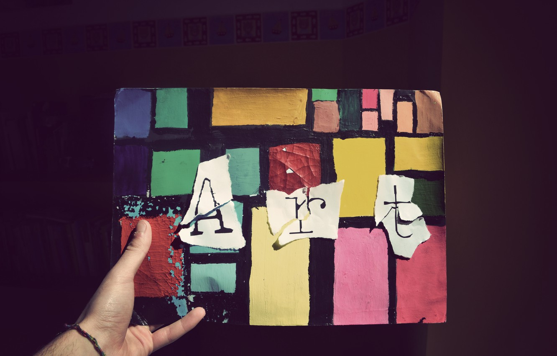 Photo wallpaper color, hand, art