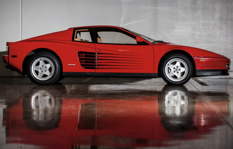Photo wallpaper Red, Reflection, Auto, Machine, Ferrari, Car, Testarossa