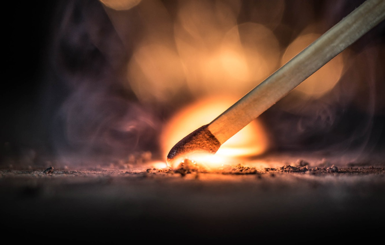 Photo wallpaper fire, flame, match, ignition, nitrate