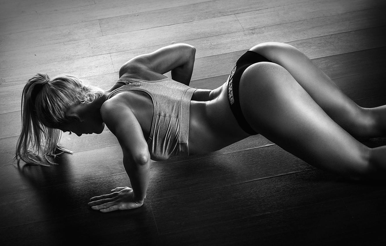 Photo wallpaper model, blonde, pose, workout, fitness, pushups