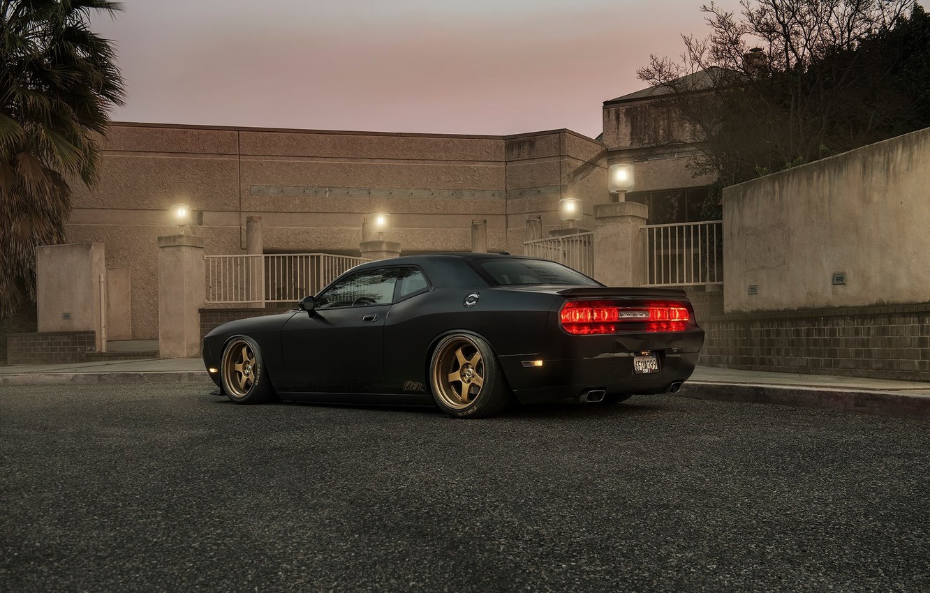 Photo wallpaper Muscle, Dodge, Challenger, Car, Black, Tuning, R/T, Wheels, Rear, Ligth
