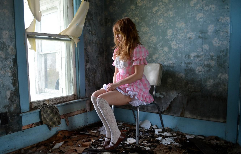 Photo wallpaper girl, room, window