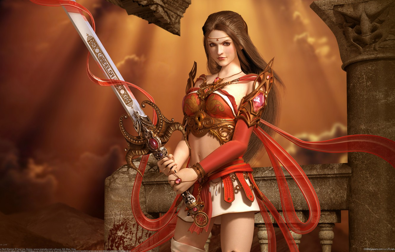 Photo wallpaper girl, warrior, fantasy, Sword, Soa Lee