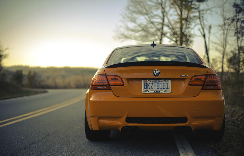 Photo wallpaper road, orange, BMW, the evening, BMW, road, evening, orange, e92