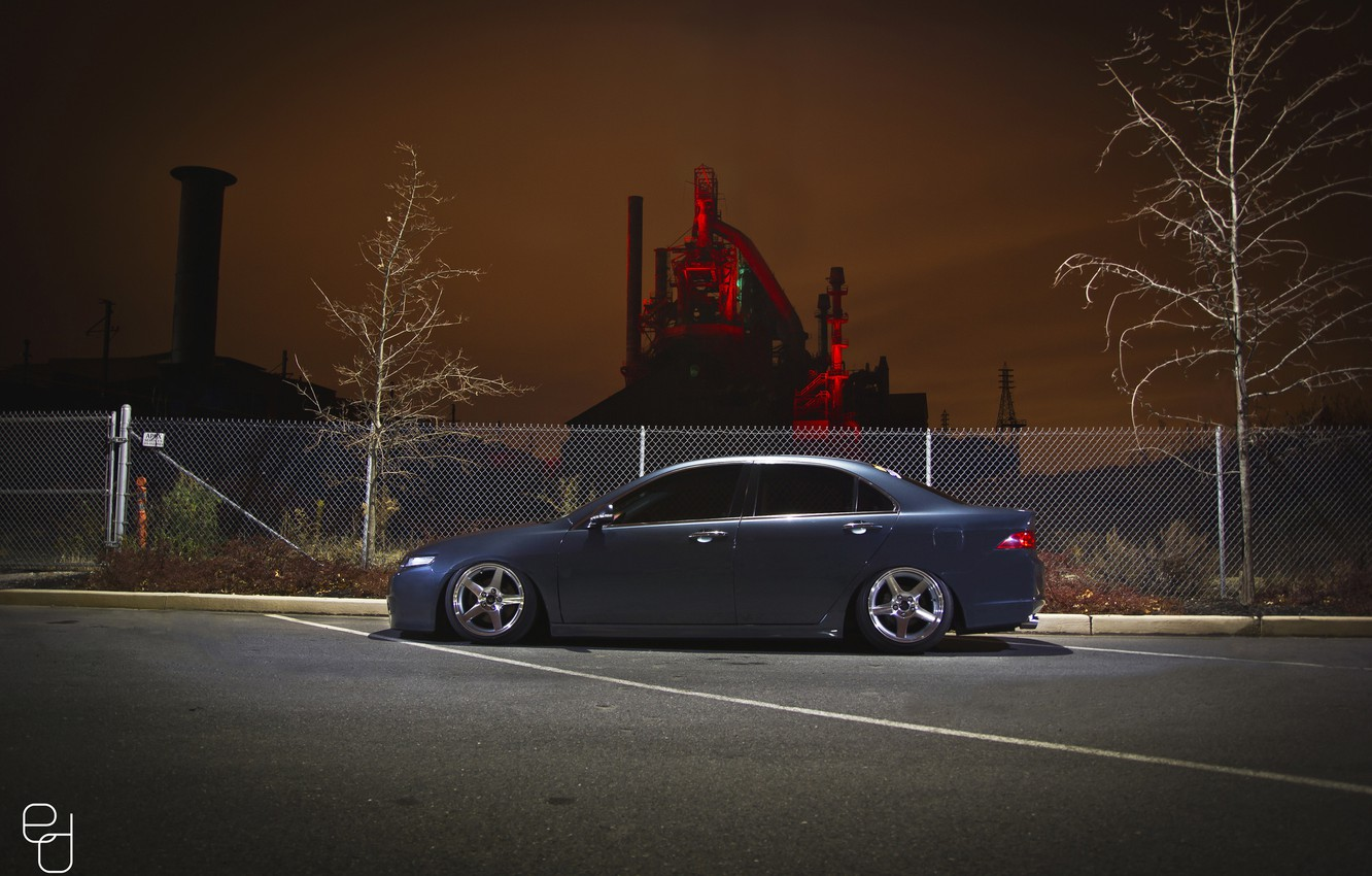 Photo wallpaper night, the city, the fence, Honda, accord, stance, Acura TSX