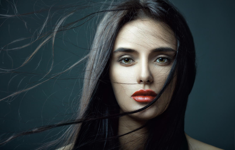 Photo wallpaper look, girl, face, background, model, hair, makeup, lips