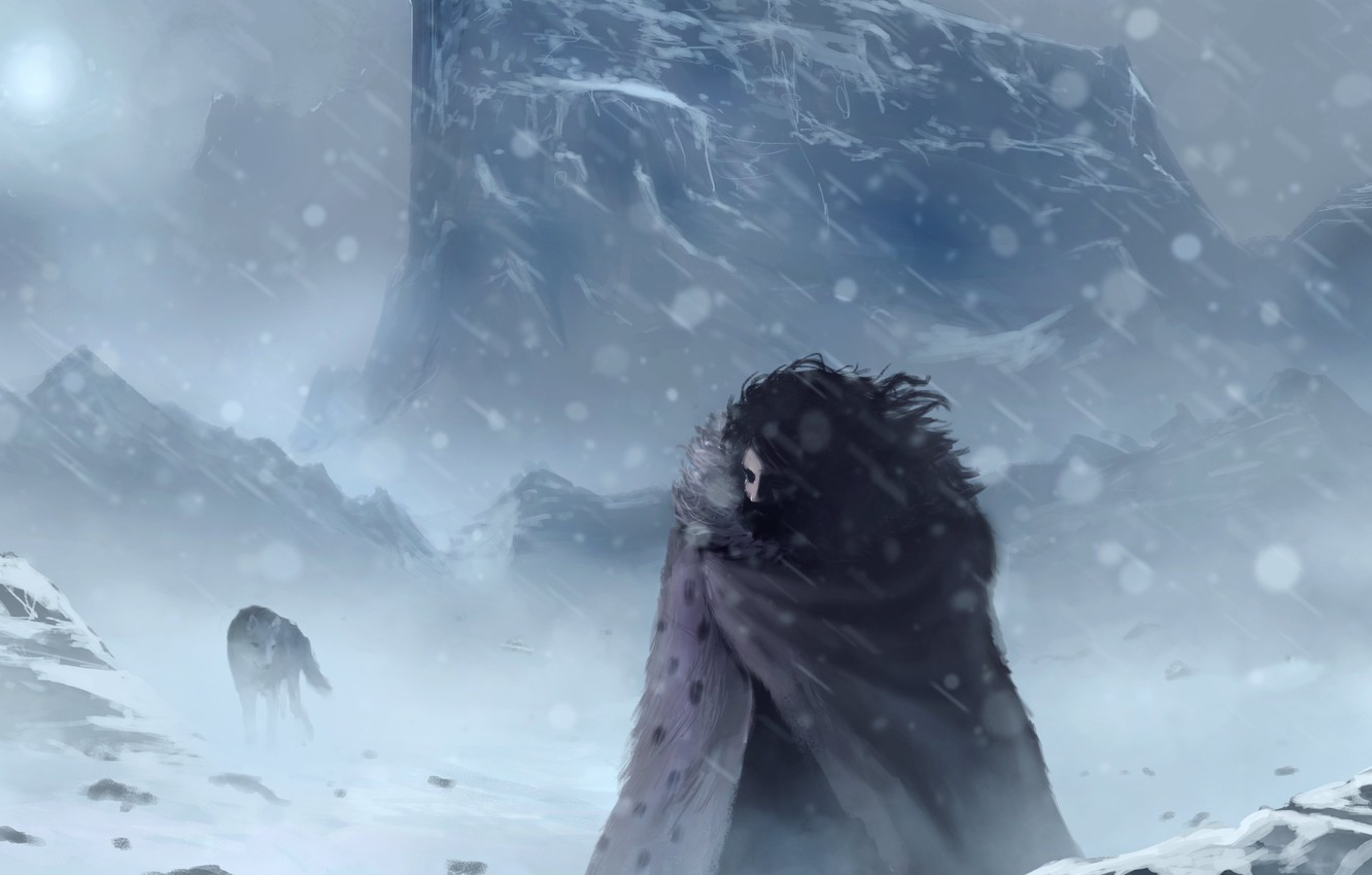 Photo wallpaper cold, winter, snow, wolf, art, Game of thrones, Jon Snow, Jon Snow, Game of thrones