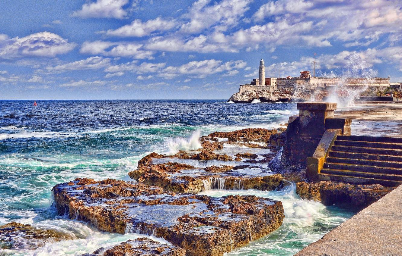 Photo wallpaper sea, wave, the sky, clouds, lighthouse, stage, fortress, Cuba, Cape