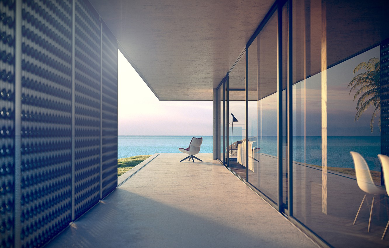 Photo wallpaper sea, summer, house, stay, chair