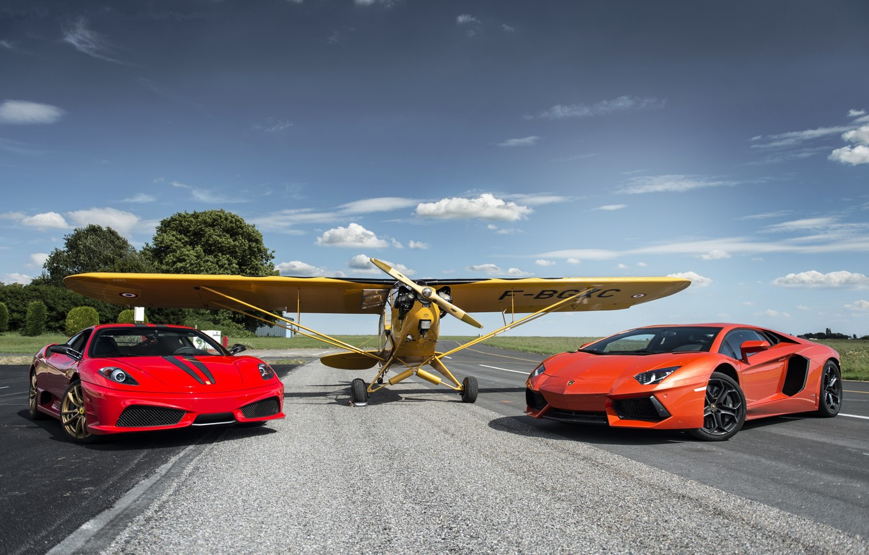 Photo wallpaper the sky, clouds, red, the plane, lamborghini, ferrari, Ferrari, plane, aventador, lp700-4, Lamborghini, aventador, the …