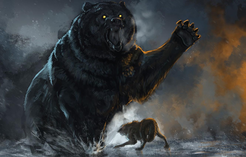 Photo wallpaper Battle, Bear, Wolf