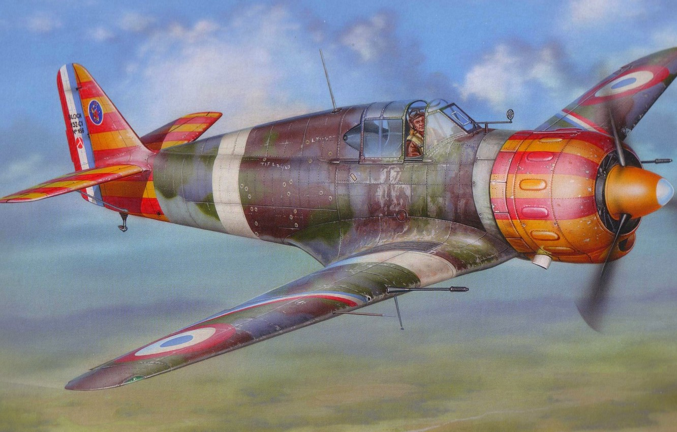 Photo wallpaper figure, art, fighter-monoplane, French, times, The second world war, MB.150, Bloch