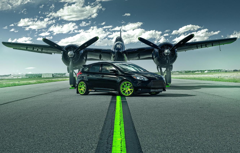 Photo wallpaper Ford, The plane, Wheel, Runway, Car, Focus, Car, Green, Wheels, Plane, Green, Runway