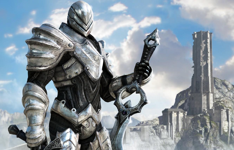 Photo wallpaper Wallpaper, sword, knight, Infinity Blade 2
