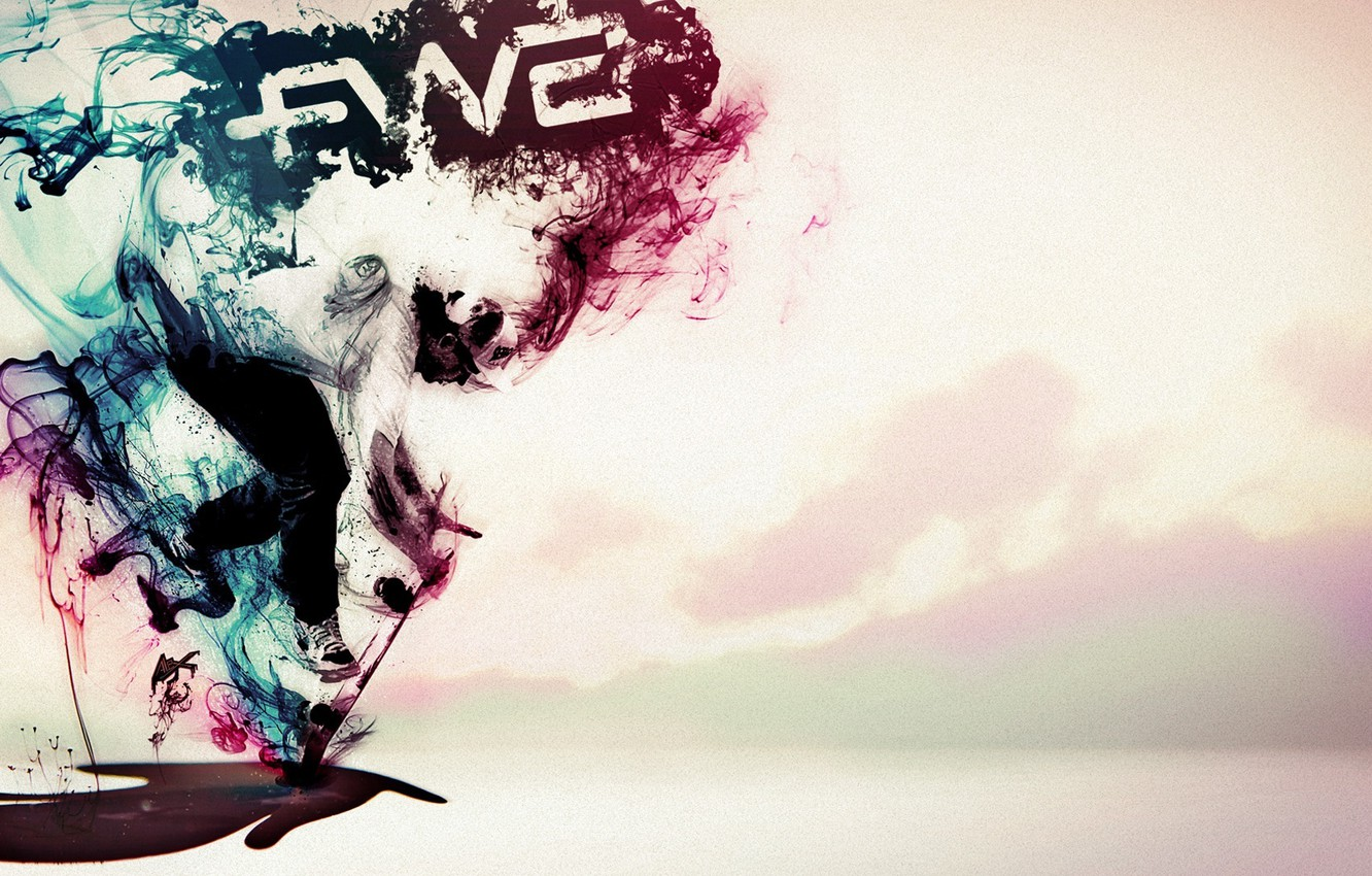 Photo wallpaper people, paint, sport, smoke, cap, bright, sneakers, color, colorful, skateboard, the trick