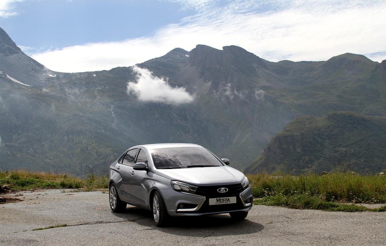 Photo wallpaper mountains, car, sedan, silver, Lada, Lada, Vesta, Vesta