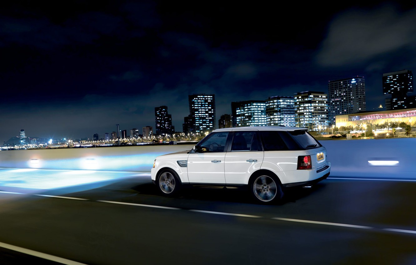Photo wallpaper the city, speed, jeep, Land Rover, Range Rover
