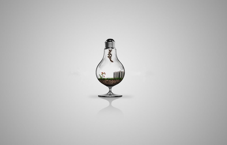 Photo wallpaper Minimalism, Light bulb, Minimalism